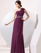 Trumpet/Mermaid One-Shoulder Floor-Length Chiffon Evening Dress With Ruffle Beading (017014076)