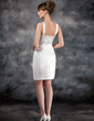 Sheath/Column Sweetheart Knee-Length Charmeuse Wedding Dress With Ruffle (002012748)