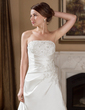 A-Line/Princess Strapless Chapel Train Satin Wedding Dress With Ruffle Lace Beading (002012609)