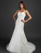 Trumpet/Mermaid Sweetheart Chapel Train Tulle Wedding Dress With Ruffle Beading Appliques Lace (002000493)