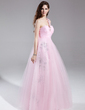 Empire One-Shoulder Floor-Length Tulle Prom Dress With Ruffle Beading (018015872)