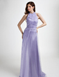 A-Line/Princess Halter Sweep Train Tulle Evening Dress With Ruffle Beading (017015765)