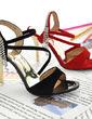 Suede Stiletto Heel Sandals With Rhinestone shoes (087023582)