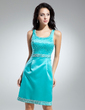 Sheath/Column Scoop Neck Knee-Length Satin Cocktail Dress With Beading (016014900)