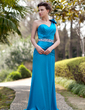 A-Line/Princess One-Shoulder Sweep Train Charmeuse Mother of the Bride Dress With Ruffle Beading Flower(s) (008018971)