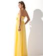 Çan/Prenses Kalp Kesimli Uzun Etekli Chiffon Satin Mezuniyet Elbisesi Ile Büzgü Boncuklama Çiçek(ler) (018013789)