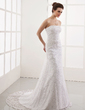 A-Line/Princess Strapless Court Train Lace Wedding Dress With Beading (002000328)