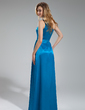 A-Line/Princess One-Shoulder Floor-Length Charmeuse Bridesmaid Dress With Ruffle (007019630)