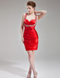 Sheath/Column Sweetheart Short/Mini Charmeuse Homecoming Dress With Ruffle Beading Sequins (022003370)