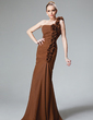 Trumpet/Mermaid One-Shoulder Floor-Length Chiffon Bridesmaid Dress With Ruffle Flower(s) (007004568)