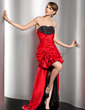 A-Line/Princess Sweetheart Asymmetrical Taffeta Prom Dress With Ruffle Beading (018014491)