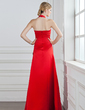 A-Line/Princess Halter Floor-Length Satin Bridesmaid Dress With Ruffle Beading (007001035)