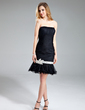 Sheath/Column Sweetheart Knee-Length Tulle Cocktail Dress With Ruffle Sash Beading Sequins (016019159)