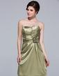 Sheath/Column Sweetheart Knee-Length Charmeuse Bridesmaid Dress With Ruffle Flower(s) (007037232)