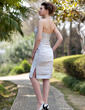 Sheath/Column Sweetheart Knee-Length Satin Mother of the Bride Dress With Ruffle Beading Split Front (008006303)