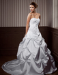 A-Line/Princess Sweetheart Chapel Train Satin Wedding Dress With Embroidered Ruffle Beading (002000453)