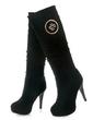 Süet İnce Topuk Diz Yüksek Boots Ile Pul ayakkabı (088056529)