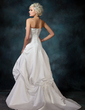 A-Line/Princess Strapless Court Train Satin Wedding Dress With Ruffle Beading Appliques Lace (002001724)