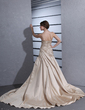 A-Line/Princess Strapless Chapel Train Satin Wedding Dress With Ruffle Appliques Lace (002001363)