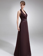 Sheath/Column Halter Floor-Length Satin Bridesmaid Dress With Ruffle Beading (007001022)