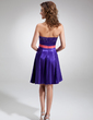A-Line/Princess Strapless Short/Mini Charmeuse Bridesmaid Dress With Sash Beading (022020761)