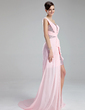 A-Line/Princess One-Shoulder Court Train Chiffon Sequined Prom Dress With Ruffle Beading Split Front (018019172)