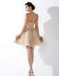 A-Line/Princess Strapless Short/Mini Organza Homecoming Dress With Ruffle (022010396)