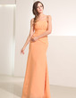 A-Line/Princess Strapless Floor-Length Chiffon Holiday Dress With Ruffle (020014195)