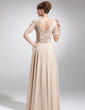 A-Line/Princess Square Neckline Floor-Length Chiffon Mother of the Bride Dress With Ruffle Beading Bow(s) (008006154)