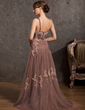 A-Line/Princess One-Shoulder Sweep Train Tulle Mother of the Bride Dress With Lace Beading (008014895)