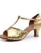 Dla kobiet Skóra ekologiczna Sparkling Glitter Obcasy Sandały Latynoska Z T-Strap Klamra Buty do Tańca (053011481)