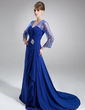 A-Line/Princess V-neck Court Train Chiffon Mother of the Bride Dress With Ruffle Beading Sequins (008006176)