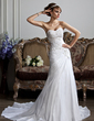 A-Line/Princess Sweetheart Chapel Train Taffeta Wedding Dress With Ruffle Lace Beading (002004477)