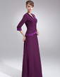 A-Line/Princess V-neck Floor-Length Chiffon Charmeuse Mother of the Bride Dress (008005976)