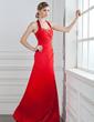 Çan/Prenses Yular Uzun Etekli Satin Nedime Elbisesi Ile Büzgü Boncuklama (007001035)
