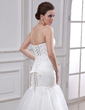 Trumpet/Mermaid Sweetheart Chapel Train Satin Organza Wedding Dress With Ruffle Lace Beading (002000325)