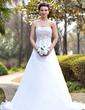 Corte A/Princesa Estrapless Cola capilla Satén Organdí Vestido de novia con Bordado Bordado Lentejuelas (002000390)