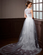 A-Line/Princess V-neck Chapel Train Tulle Wedding Dress With Lace Beading (002011532)