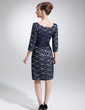 Sheath/Column Square Neckline Knee-Length Lace Mother of the Bride Dress (008006193)