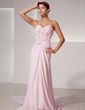 A-Line/Princess Sweetheart Watteau Train Chiffon Prom Dress With Ruffle Beading Sequins (018014411)
