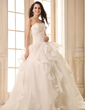 Ball-Gown Sweetheart Floor-Length Satin Organza Wedding Dress With Beading Appliques Lace Cascading Ruffles (002026595)