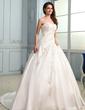 Ball-Gown Sweetheart Chapel Train Taffeta Wedding Dress With Ruffle Beading Appliques Lace (002030757)