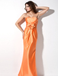 Trumpet/Mermaid Sweetheart Floor-Length Satin Bridesmaid Dress With Ruffle Bow(s) (007000929)