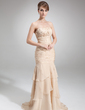 Trumpet/Mermaid Strapless Court Train Chiffon Mother of the Bride Dress With Cascading Ruffles (008006299)