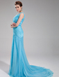 A-Line/Princess V-neck Court Train Chiffon Evening Dress With Ruffle Beading (017019735)