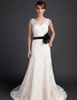 A-Line/Princess V-neck Court Train Lace Wedding Dress With Sash Beading Flower(s) (002015783)