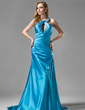 A-Line/Princess Halter Court Train Charmeuse Evening Dress With Ruffle Beading (017002267)