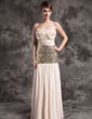 A-Line/Princess Strapless Floor-Length Chiffon Sequined Holiday Dress With Ruffle (008015030)