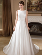 A-Line/Princess Scoop Neck Chapel Train Satin Wedding Dress With Beading (002011715)