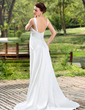 Empire V-neck Court Train Charmeuse Wedding Dress With Ruffle Beading (002011454)